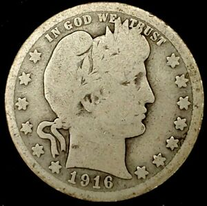 1916 P 25C BARBER QUARTER 90  SILVER 20UWC0615 50 CENTS SHIPPING
