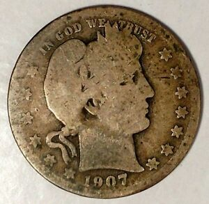 1907 P 25C BARBER QUARTER 90  SILVER 18LWA1013 50 CENTS SHIPPING