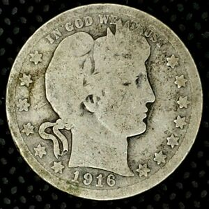 1916 D 25C BARBER QUARTER 90  SILVER 20UCT0204 50 CENTS SHIPPING