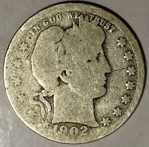 1902 P 25C BARBER QUARTER 90  SILVER 18SOC1013 50 CENTS SHIPPING