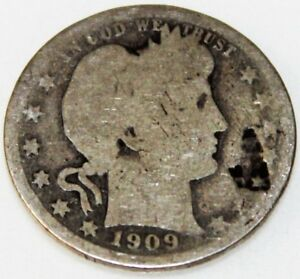1909 D 25C BARBER QUARTER 90  SILVER 17UWW1808 2 50 CENTS SHIPPING