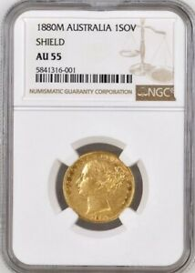 Click now to see the BUY IT NOW Price! 1880 GOLD SOVEREIGN MELBOURNE SHIELD NGC GRADED AU55  KEY DATE