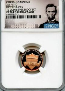 2017 S FIRST RELEASE LINCOLN CENT 10 COIN SILVER PROOF SET PF 70 RD ULTRA CAMEO