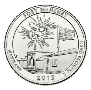 2013 S FORT MCHENRY MARYLAND   ATB QUARTER   UNCIRCULATED FROM US MINT ROLL