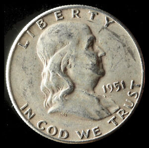 1951 S FRANKLIN 90  SILVER HALF DOLLAR SHIPS FREE. BUY 5 FOR $2 OFF