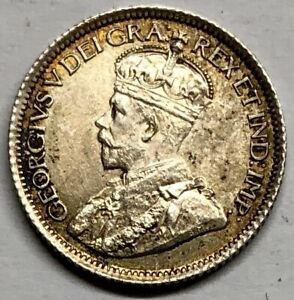 1914 CANADA 10 CENTS SILVER COIN   HIGH GRADE AU / BU   LOW MINTAGE