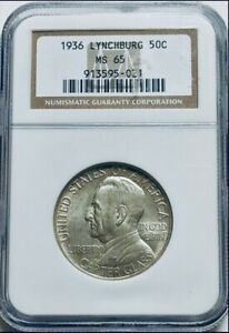 1936 LYNCHBURG COMMEMORATIVE SILVER HALF DOLLAR   NGC MS 65   MINT STATE 65