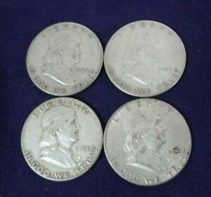 LOT 4 FRANKLIN SILVER HALF DOLLAR 90  BULLION US COIN 1948 D P 1951 1952 DENVER