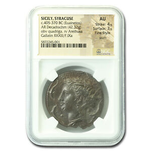 Click now to see the BUY IT NOW Price! SICILY SYRACUSE SILVER DECADRACHM  405 370 BC  AU NGC   SKU214983