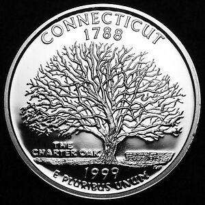 1999 S 25C STATE QUARTER CONNECTICUT GDC PROOF CN CLAD 50 CENTS SHIPPING
