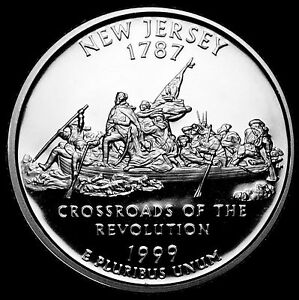 1999 S 25C STATE QUARTER NEW JERSEY GDC PROOF CN CLAD 50 CENTS SHIPPING