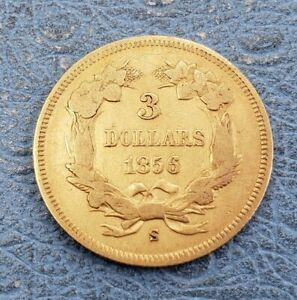 1856 S INDIAN PRINCESS $3 DOLLAR GOLD PIECE SMALL S