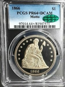 Click now to see the BUY IT NOW Price! 1866 67 68 69 70 $1 DEEP CAMEO SEATED LIBERTY DOLLARS PCGS&CAC PR 64DCAM 65DCAM.
