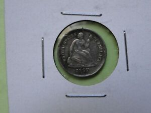 BETTER DATE 1867 S SEATED LIBERTY HALF DIME AU DETAILS CLEARANCE