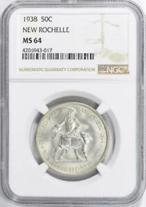 1938 NEW ROCHELLE COMMEMORATIVE SILVER HALF DOLLAR NGC MS 64   MINT STATE 64