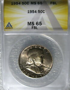 1954 FRANKLIN HALF DOLLAR ANACS CERTIFIED MS65 FBL FULL BELL LINES FROM MINT SET