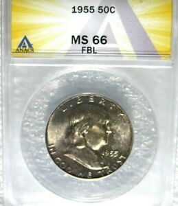 1955 FRANKLIN HALF DOLLAR ANACS CERTIFIED MS66 FBL FULL BELL LINES FROM MINT SET