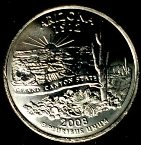 2008 P 25C STATE QUARTER ARIZONA BU CN CLAD 20UR0308 1 50 CENTS SHIPPING