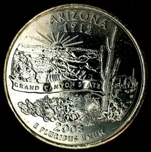 2008 P 25C STATE QUARTER ARIZONA BU CN CLAD 20UR0308 2 50 CENTS SHIPPING