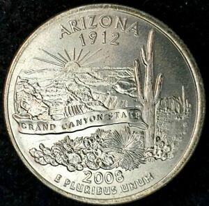 2008 P 25C STATE QUARTER ARIZONA BU CN CLAD 20UR0308 3 50 CENTS SHIPPING