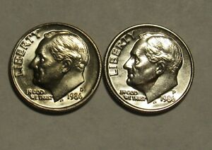 1986 P&D ROOSEVELT DIMES IN BU CONDITION