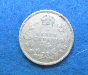 1914 CANADA 5 CENTS GEORGE V SILVER COIN      [150]