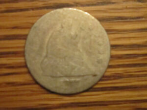 1877 P SEATED LIBERTY QUARTER SILVER COIN WELL WORN