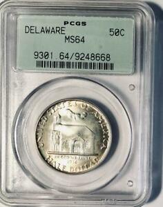 1936 DELAWARE COMMEMORATIVE SILVER HALF DOLLAR   PCGS MS 64   MINT STATE 64
