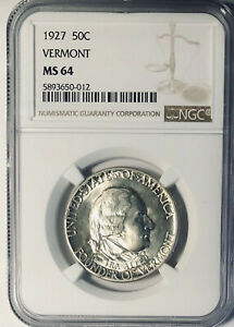 1927 VERMONT COMMEMORATIVE SILVER HALF DOLLAR  NGC MS 64   MINT STATE 64