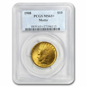 1908 $10 INDIAN GOLD EAGLE W/MOTTO MS 63  PCGS   SKU201908