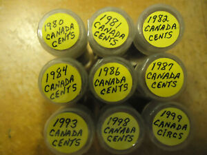 1980 CANADIAN CENT ROLL UNIQUE BIRTH YEAR GIFT. YOU ARE BIDDING LISTED ROLL ONLY