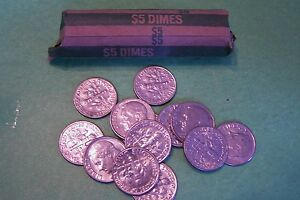 1986 P ROOSEVELT DIME ROLL   50 COINS