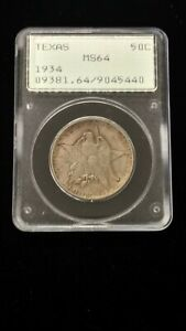 1934 TEXAS COMMEMORATIVE HALF DOLLAR MS 64 PCGS