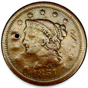 1851 P 1C BRAIDED HAIR LARGE CENT 20UAT0802 50 CENTS SHIPPING