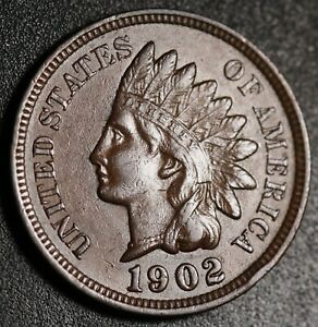 1902 INDIAN HEAD CENT  WITH LIBERTY & NEAR 4 DIAMONDS   AU UNC