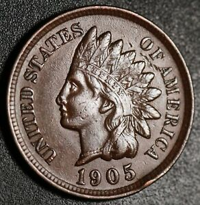 1905 INDIAN HEAD CENT  WITH LIBERTY & NEAR 4 DIAMONDS   AU UNC