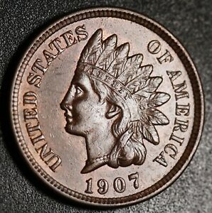 1907 INDIAN HEAD CENT  WITH LIBERTY & NEAR 4 DIAMONDS   AU UNC