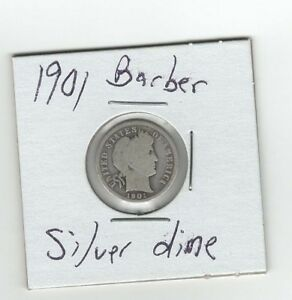 SILVER 1901 BARBER DIME 10 CENTS OLD SILVER COIN PHILADELPHIA MINT