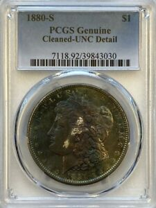 PCGS GENUINE CLEANED UNC DETAILS 1880 S MORGAN DOLLAR.  TONED.