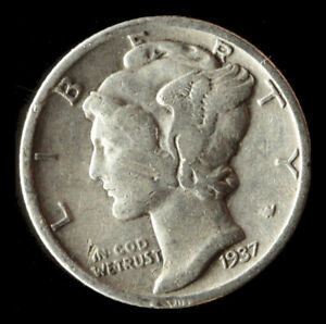 1937 P MERCURY 90  SILVER DIME SHIPS FREE. BUY 5 FOR $2 OFF