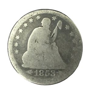 1853 ARROWS & RAYS 25C SEATED LIBERTY QUARTER CIRCULATED