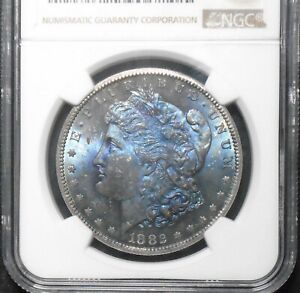 1882 CC $1 MORGAN SILVER DOLLAR  NGC MS 64  BLUE TONED  COLORFUL CC