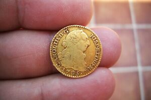 A66  EXCELLENT OLD US GOLD 1 ESCUDO 1785 MADRID MINT SPANISH COLONIAL