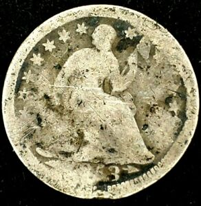 1853 P 5C SEATED LIBERTY HALF DIME 90  SILVER 20UTL0502 70 CENTS SHIPPING
