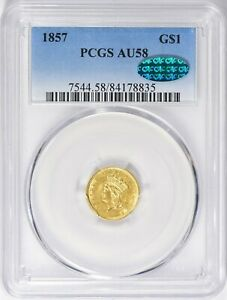 1857 PCGS CAC $1 GOLD DOLLAR LARGE PRINCESS HEAD NICE TYPE COIN