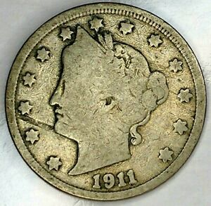 1911 P  5C LIBERTY HEAD NICKEL 19HL0801 50 CENTS SHIPPING