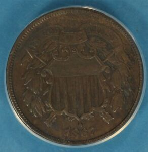 1867 TWO CENT ANACS EF40  NICE SURFACES TONE EYE APPEAL