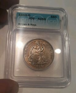 Click now to see the BUY IT NOW Price! 1853 O 50C ARROW'S & RAY'S SEATED LIBERTY HALF DOLLAR AU 55 CHOICE