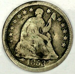 1853 P 5C SEATED LIBERTY HALF DIME 90  SILVER 19LLLT0708 50 CENTS SHIPPING