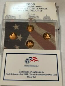 2009 S 'LIFE OF LINCOLN' 4 PC US CENT PROOF SET WITH BOX & COA